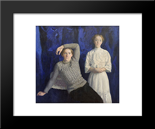 Beni And Noemi: Modern Black Framed Art Print by Karoly Ferenczy