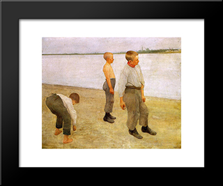 Boys Throwing Pebbles Into The River: Modern Black Framed Art Print by Karoly Ferenczy