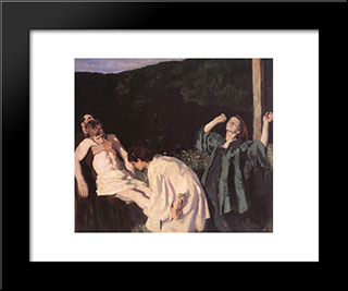 Deposition From The Cross: Modern Black Framed Art Print by Karoly Ferenczy