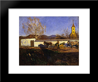 Evening In March: Modern Black Framed Art Print by Karoly Ferenczy