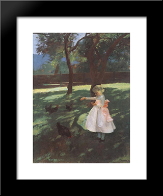Feeding The Chickens: Modern Black Framed Art Print by Karoly Ferenczy