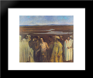Joseph Sold Into Slavery By His Brothers: Modern Black Framed Art Print by Karoly Ferenczy