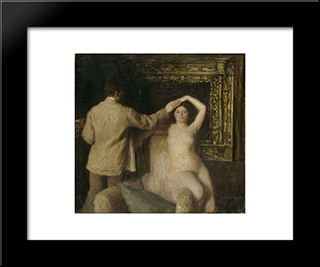 Painter And Model: Modern Black Framed Art Print by Karoly Ferenczy
