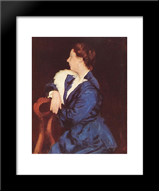 Portrait Of Mrs. Sandor Ernst: Modern Black Framed Art Print by Karoly Ferenczy