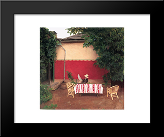 Red Wall: Modern Black Framed Art Print by Karoly Ferenczy