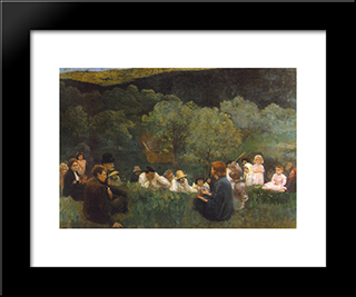 Sermon On The Mountain: Modern Black Framed Art Print by Karoly Ferenczy