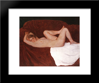 Sleeping Woman: Modern Black Framed Art Print by Karoly Ferenczy