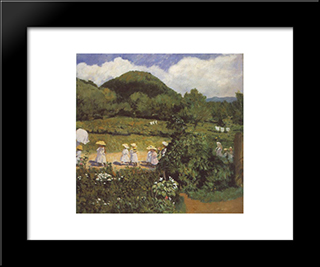 Summertime (Picnic In May): Modern Black Framed Art Print by Karoly Ferenczy