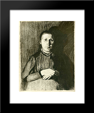 Pregnant Woman With Folded Hands: Modern Black Framed Art Print by Kathe Kollwitz