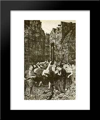 The Carmagnole (Dance Around The Guillotine): Modern Black Framed Art Print by Kathe Kollwitz