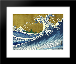 A Colored Version Of The Big Wave: Modern Black Framed Art Print by Katsushika Hokusai