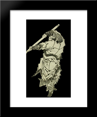 A Depiction Of Sun Wukong Wielding His Staff: Modern Black Framed Art Print by Katsushika Hokusai