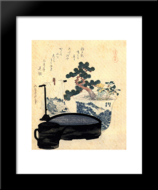 A Lacquered Washbasin And Ewer: Modern Black Framed Art Print by Katsushika Hokusai