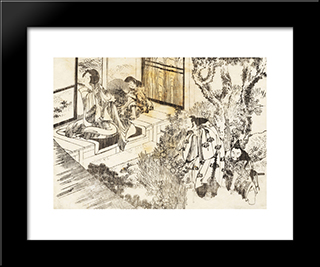 A Man Is Watching A Beautiful Woman: Modern Black Framed Art Print by Katsushika Hokusai