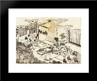 An Old Woman: Modern Black Framed Art Print by Katsushika Hokusai