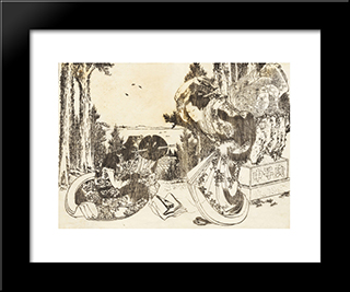 An Older Woman Hits Another Woman With Her Shoe: Modern Black Framed Art Print by Katsushika Hokusai