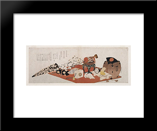 Announcement Of A Farewell Performance Of Bando Mitsugoro: Modern Black Framed Art Print by Katsushika Hokusai