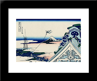 Asakusa Honganji Temple In Th Eastern Capital: Modern Black Framed Art Print by Katsushika Hokusai