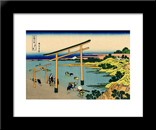 Bay Of Noboto: Modern Black Framed Art Print by Katsushika Hokusai