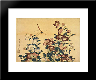 Bluebells And Dragonflies: Custom Black Wood Framed Art Print by Katsushika Hokusai
