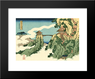 Bridge In The Clouds: Modern Black Framed Art Print by Katsushika Hokusai