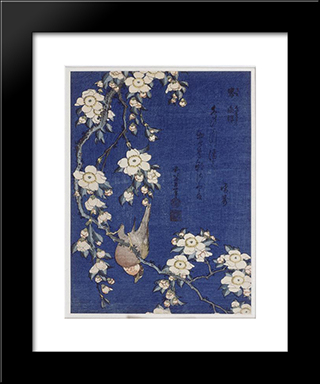 Bullfinch And Weeping Cherry Blossoms: Custom Black Wood Framed Art Print by Katsushika Hokusai