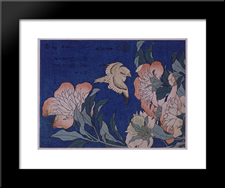 Canary And Peony: Custom Black Wood Framed Art Print by Katsushika Hokusai