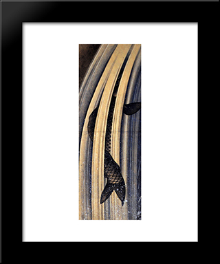 Carp Leaping Up A Cascade: Modern Black Framed Art Print by Katsushika Hokusai