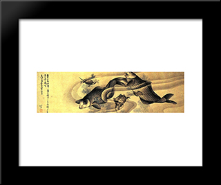 Carps: Modern Black Framed Art Print by Katsushika Hokusai