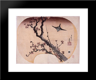 Cherry Blossoms And Warbler: Custom Black Wood Framed Art Print by Katsushika Hokusai