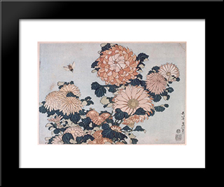Chrysanthemums And Horsefly: Custom Black Wood Framed Art Print by Katsushika Hokusai