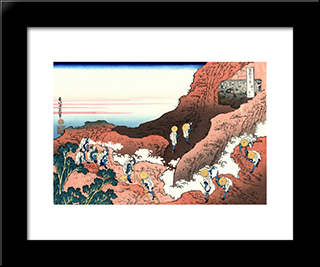 Climbing On Mt. Fuji: Modern Black Framed Art Print by Katsushika Hokusai