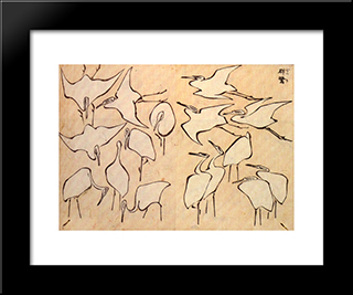 Cranes From Quick Lessons In Simplified Drawing: Modern Black Framed Art Print by Katsushika Hokusai