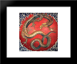 Dragon: Modern Black Framed Art Print by Katsushika Hokusai