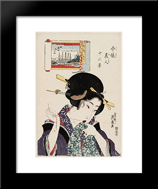 (Otonashiso, Tsukuda Shinchi No Irifune), From The Series Twelve Views Of Modern Beauties (Imayo Bijin Juni Kei): Modern Black Framed Art Print by Keisai Eisen
