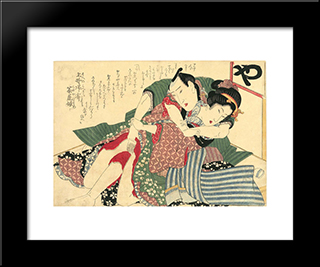 A Couple: Modern Black Framed Art Print by Keisai Eisen
