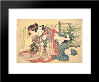 A Couple Locked In An Embrace: Modern Black Framed Art Print by Keisai Eisen