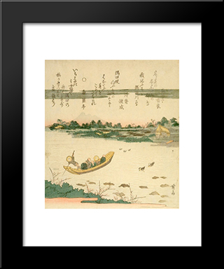 A Ferry Boat On The Sumida River: Modern Black Framed Art Print by Keisai Eisen