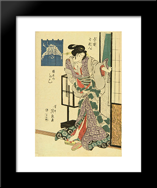 A Portrait Of The Courtesan Kashiko Of Tsuruya: Modern Black Framed Art Print by Keisai Eisen