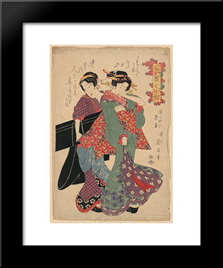 An Allegory Of Komachi Visiting: Modern Black Framed Art Print by Keisai Eisen