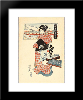 Beauty And Sumida River - Edo Meisho Bijin Awase: Modern Black Framed Art Print by Keisai Eisen