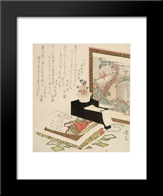 Cards, Fukujuso Flowers And Screen: Modern Black Framed Art Print by Keisai Eisen