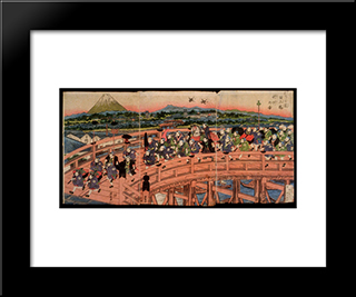 Children'S Pastimes A Procession On Nihon Bridge: Modern Black Framed Art Print by Keisai Eisen