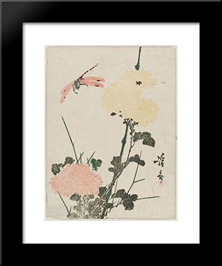 Chrysanthemums And Dragonfly: Modern Black Framed Art Print by Keisai Eisen