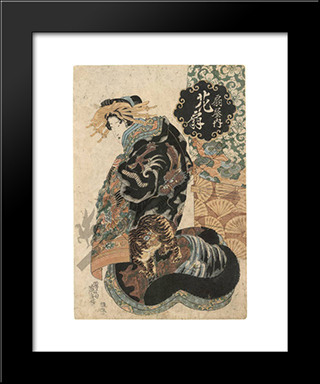 Courtesan Hanaogi From The Ogi House: Modern Black Framed Art Print by Keisai Eisen