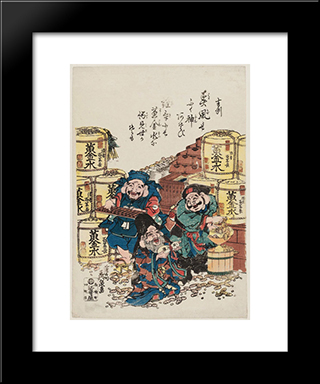 Daikoku, Ebisu, And Fukurokuju Counting Money: Modern Black Framed Art Print by Keisai Eisen