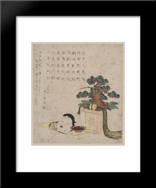 Decoration Of Three Treasures And A Mask Of Otafuku: Modern Black Framed Art Print by Keisai Eisen