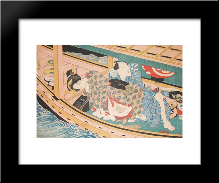 Dinner And Love On The River: Modern Black Framed Art Print by Keisai Eisen