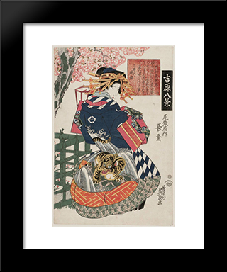 Evening Bell At Mii-Dera Temple: Modern Black Framed Art Print by Keisai Eisen