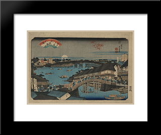 Evening Glow At Ryogoku Bridge: Modern Black Framed Art Print by Keisai Eisen